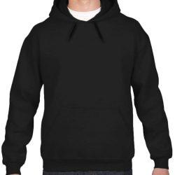 Sample image of plain black Gildan 18500 Pull-on hoodie